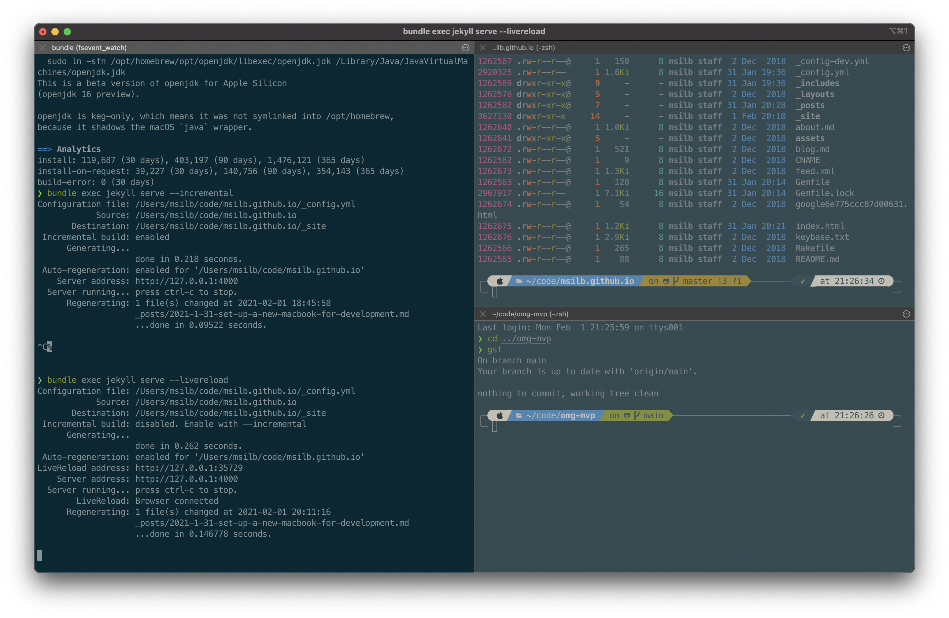 iTerm2 with split screen