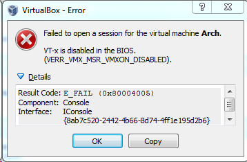 VirtualBox Startup Error Message